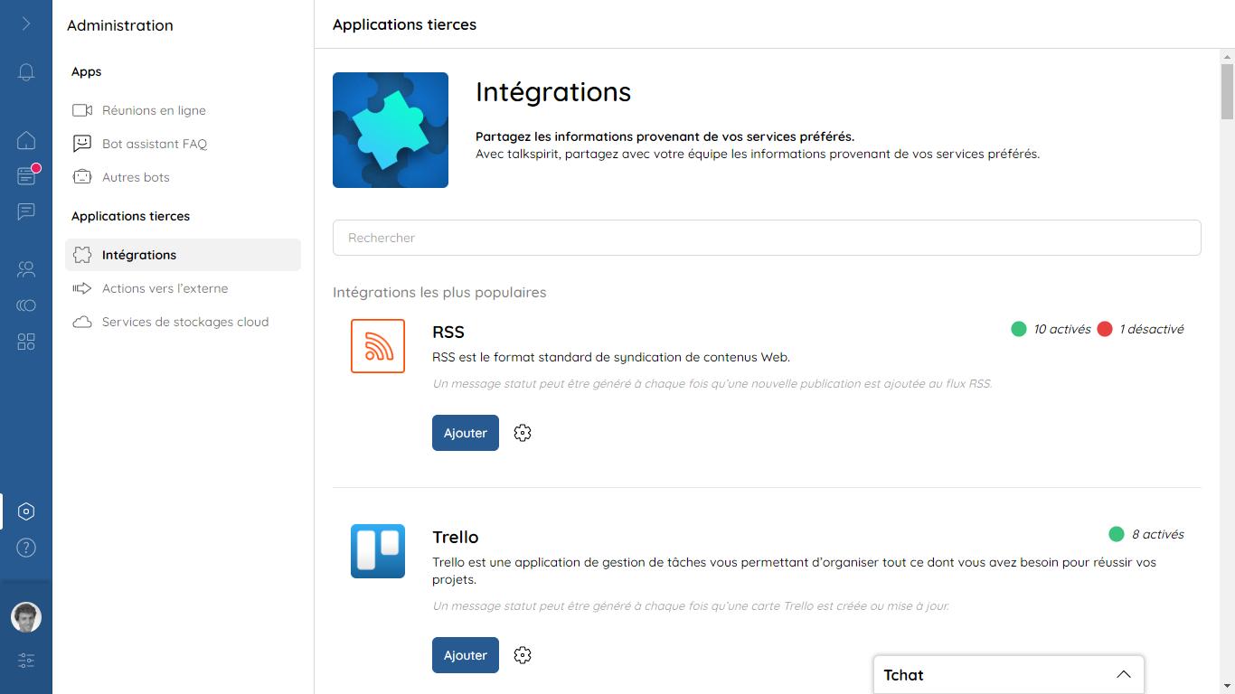 Intégrations : talkspirit fonctionne avec toutes vos applications et réseaux sociaux préférées