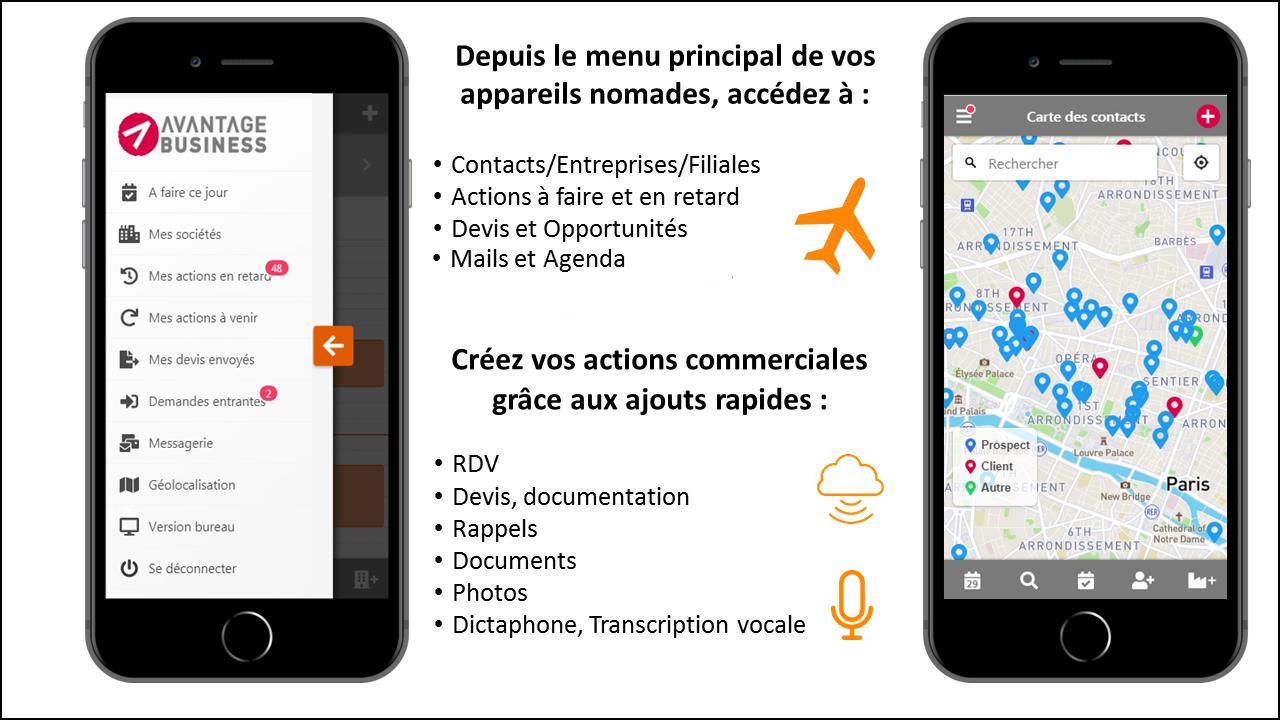 En déplacement dictez vos compte-rendus de visite Evitez la saisie à partir de votre clavier :  grâce au micro intégré de votre smartphone, dictez directement votre compte-rendu client.