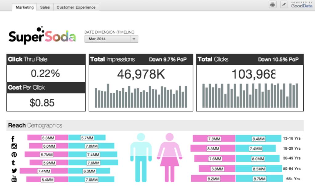 GoodData: Tableaux de bord, Tableau de bord interactif, Support (téléphone, email, ticket)