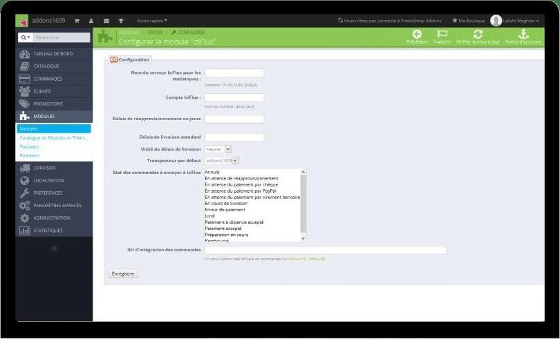 Grâce au module Iziflux disponible gratuitement pour Prestashop, connectez votre site ecommerce en quelques clics avec votre abonnement Iziflux.