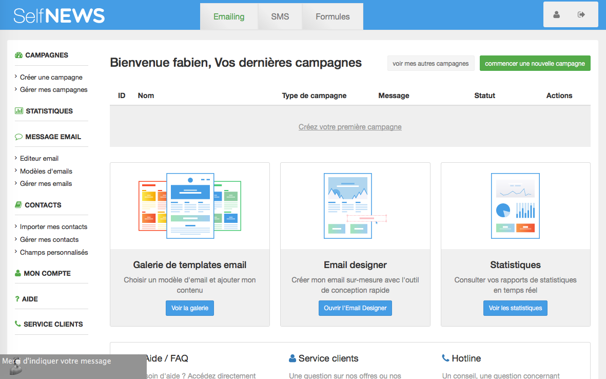 Self NEWS: Gestion des désinscriptions / Opt-out, Gestion de campagnes, Page de désinscription