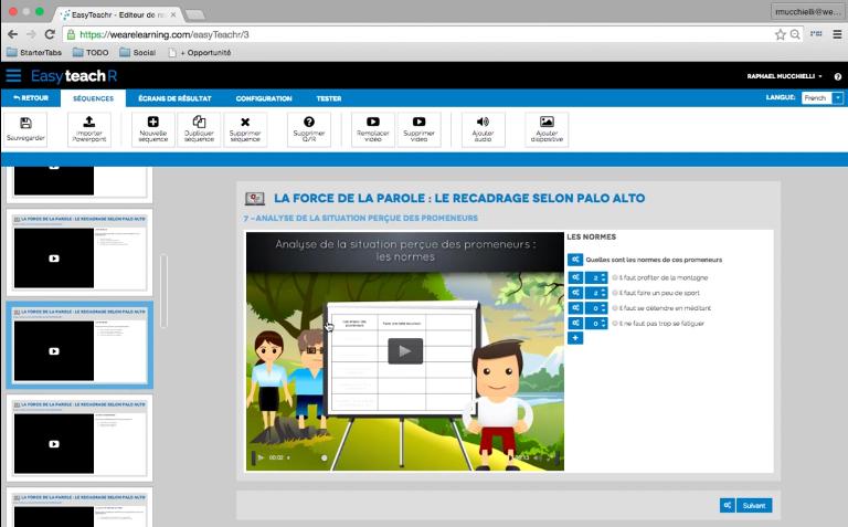 EasyteachR de We Are Learning : Base de savoir (tutoriels, démos), Formation en ligne (webinaire), Programme de formation