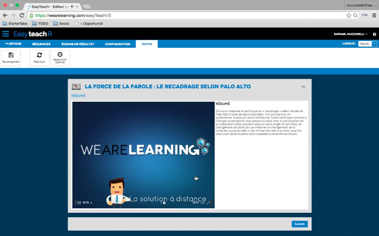 EasyteachR de We Are Learning : Programme de formation, Interface web adaptive, E-tutorat