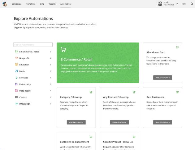 Automatisation des email avec MailChimp