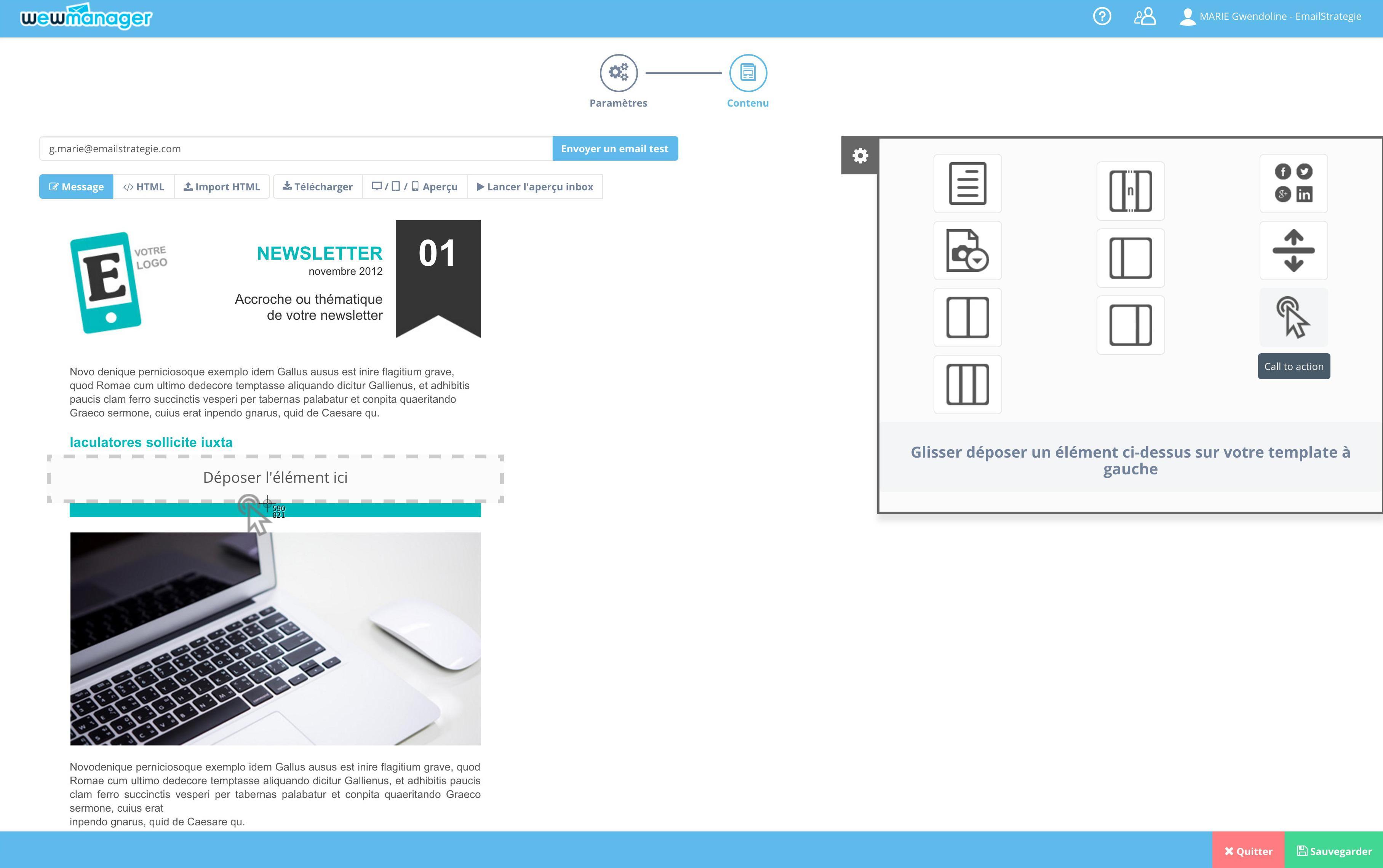 wewmanager : Gestion de Campagnes Emailing, Editeur drag & drop, Responsive Design