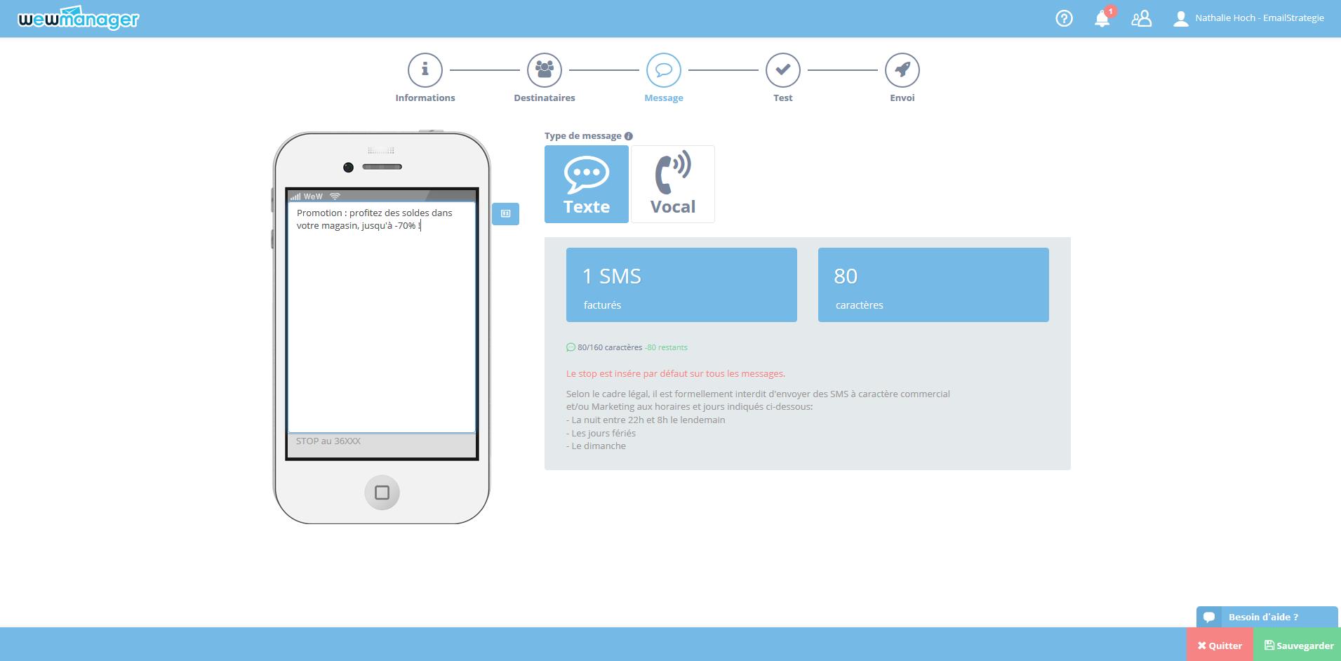 wewmanager : Gestion de Campagnes SMS, Aperçu en Temps Réel, SMS Texte ou Vocal