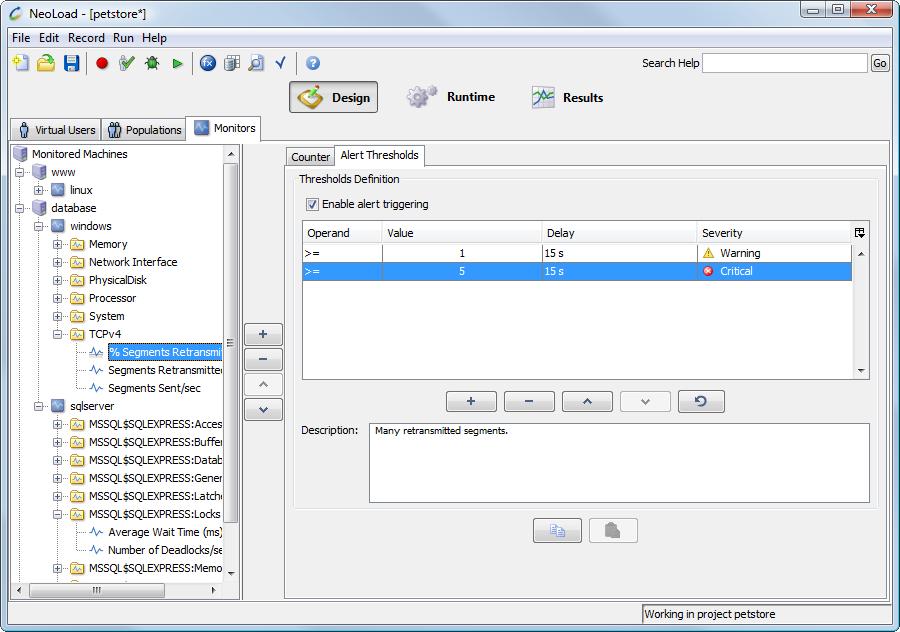 NeoLoad: Restriction d'accès sur adresses IP, Compatible Window OS, Actions contextuelles