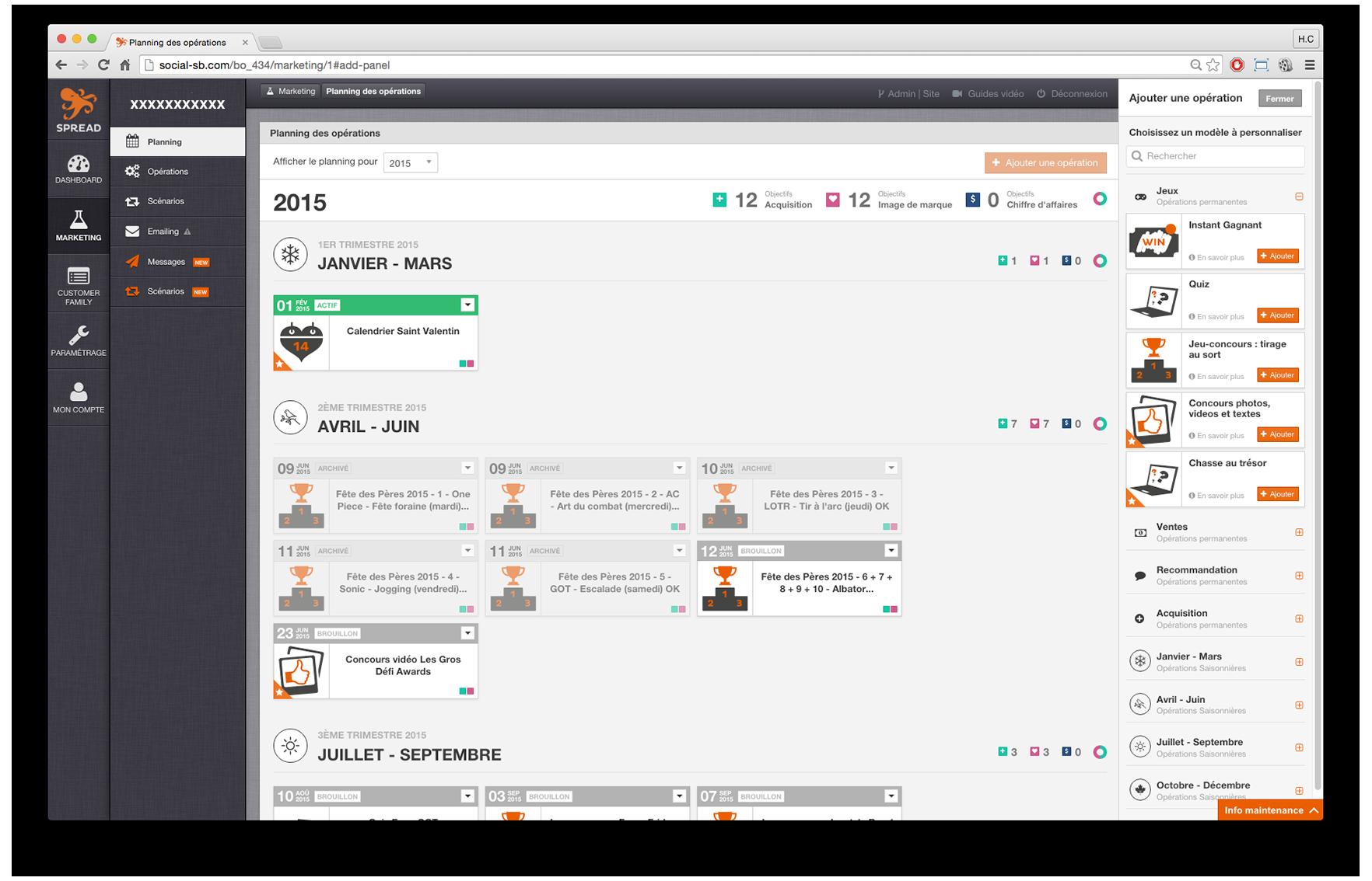 Spread Family: Page de désinscription, Type de contact, Identification des utilisateurs / entreprises