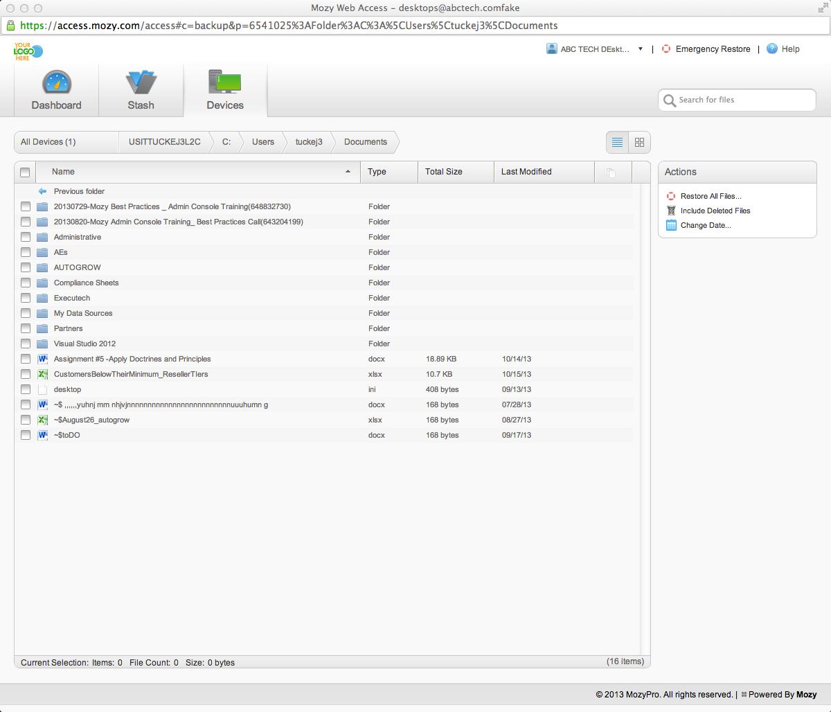 Mozy: Restauration des données, Restauration sur disque dur, Sauvergarde des bases de données