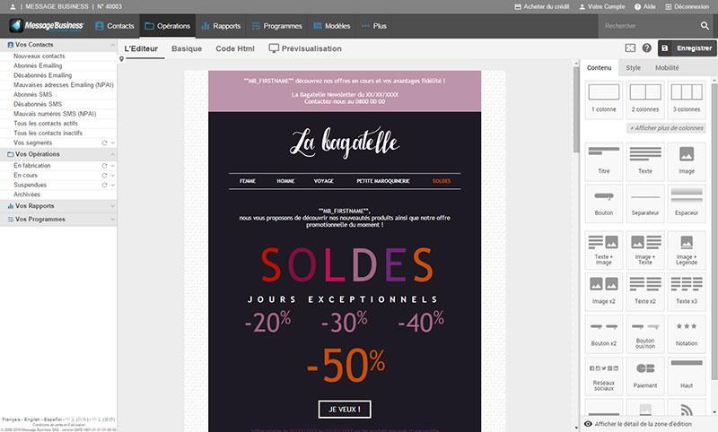 Message Business: Gestion des Newsletters, Programmation des envois, Modèles d'email