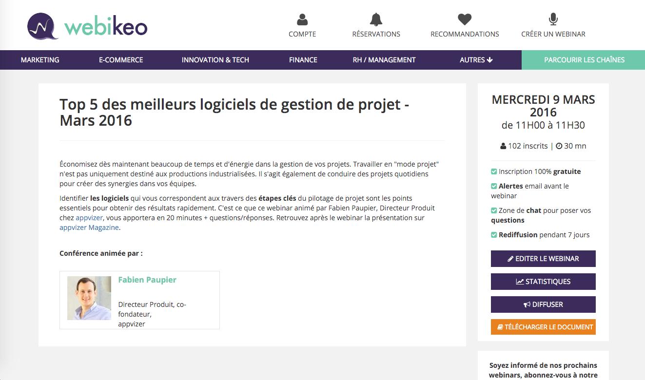 Webikeo: Téléphone fixe, Statistiques du Webinar, Site Web (plugin, formulaire)