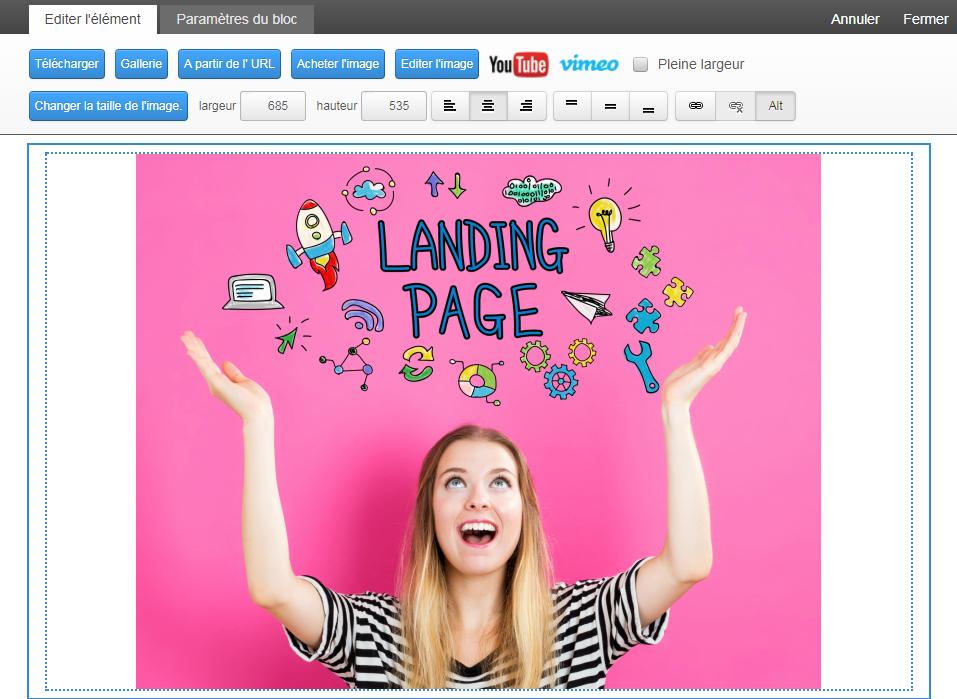 Éditeur de Landing Page Drag & Drop - Templates au design responsive