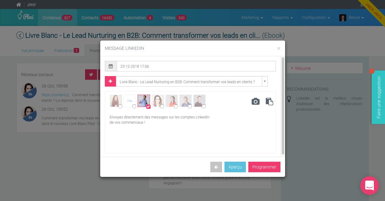 Gestion centralisée de la publication sur les réseaux sociaux de l'entreprise et ses collaborateurs.