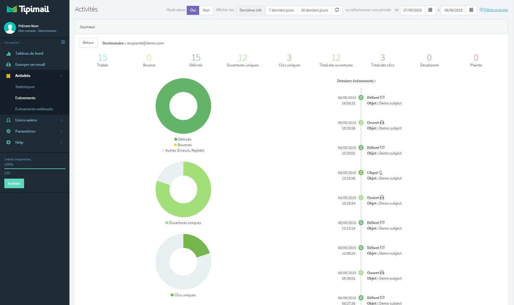 Tipimail: Emails transactionnels, Rapports post-campagne, API, Web service