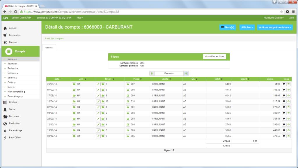 Compta.com: Plan comptable personnalisable, Echelonnage de la facturation, Sauvegarde quotidienne