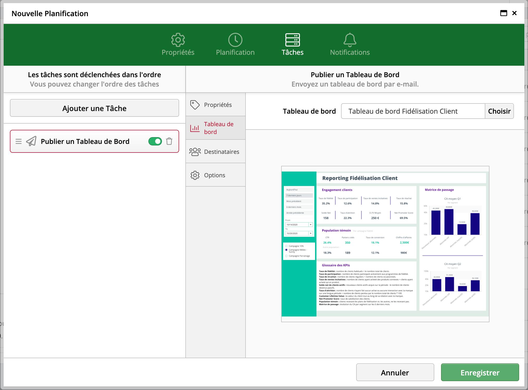 ClicData : Planification d'envoi de tableau de bord automatique