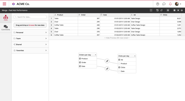 Consolidez vos jeux de données pour construire vos rapports et KPIs sur-mesure