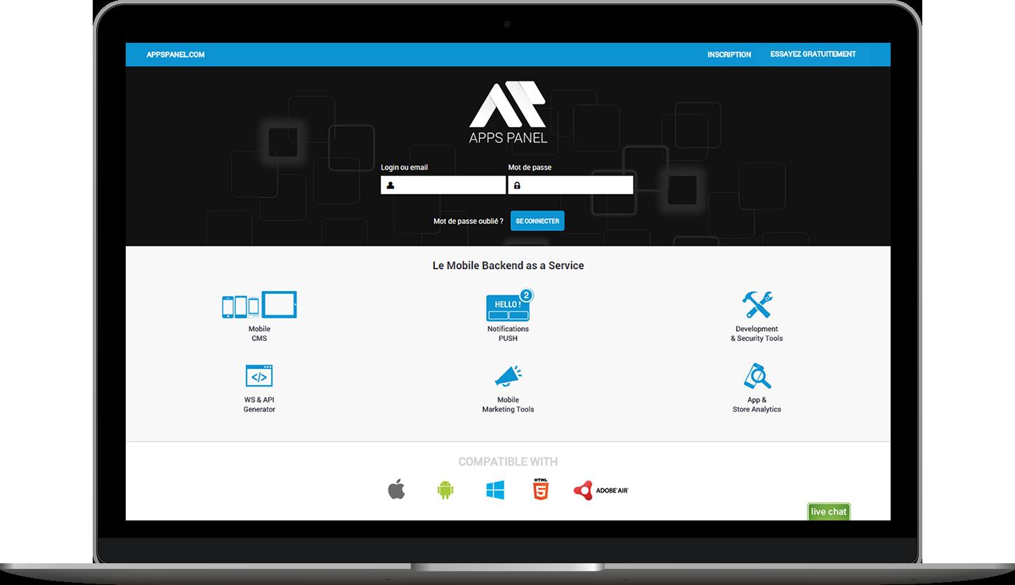 Ecran d'accueil du MBaaS Apps Pael