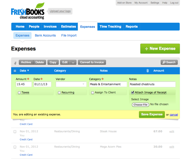 Freshbooks : Factures