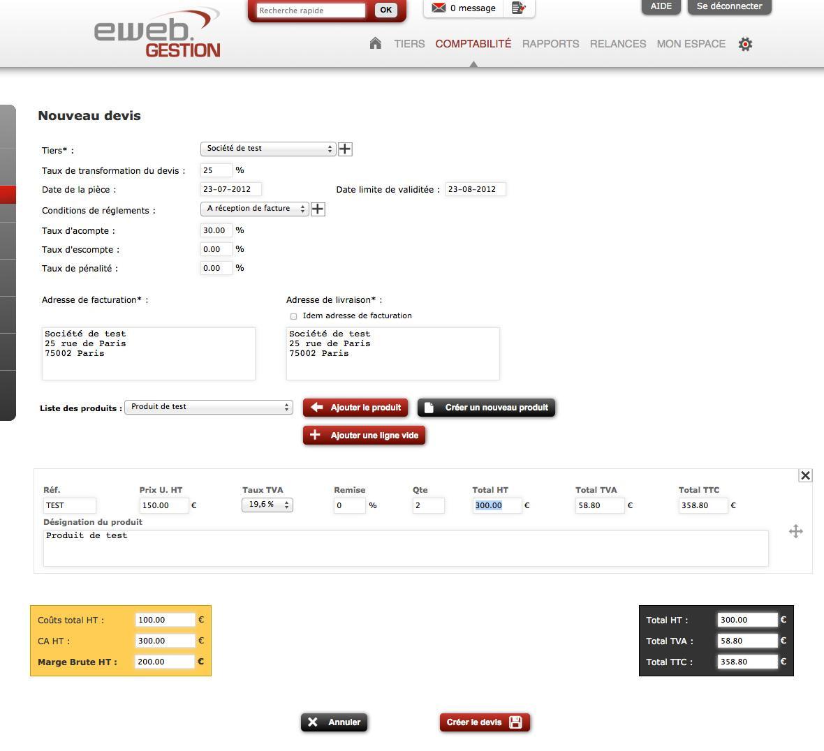 eWeb Gestion: Gestion des produits, Import, Import et export de données (CSV, XLS)