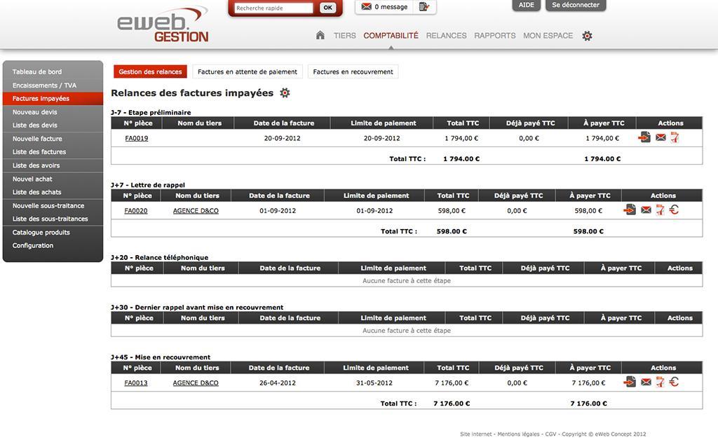 eWeb Gestion: Devis, Utilisateurs maximum, Rappel des retards de paiement