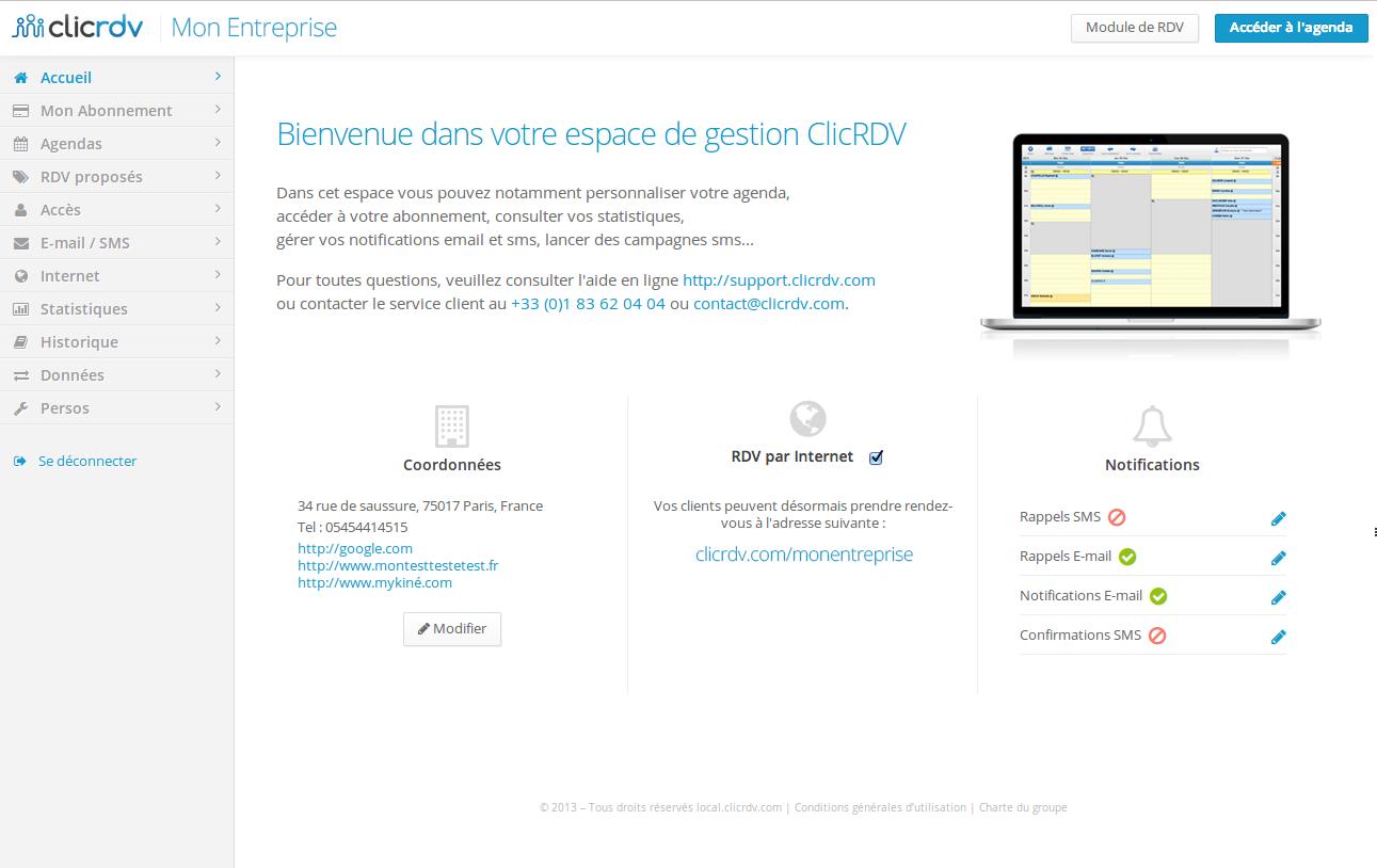 Interface ClicRDV 2