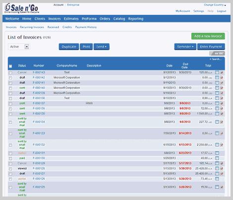 Sale n'Go: Catalogue tarifaire, Gestion des propositions commerciales entrantes commerciales, Tableaux de bord