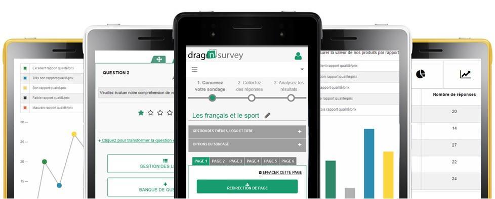 Depuis votre smartphone,créez votre questionnaire , diffusez-le et analysez les résultats.