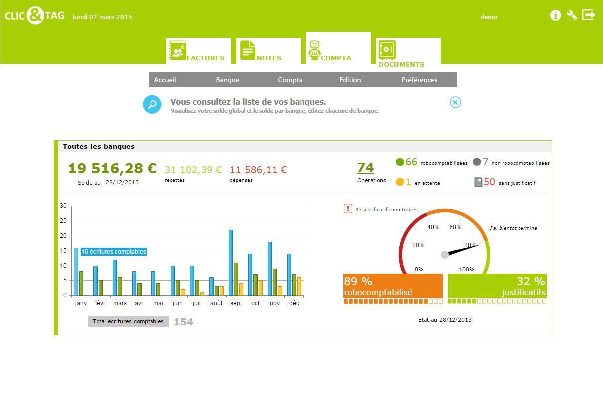 Clic&Tag: Feuille de temps, Gestion des numéros de factures, Import des relevés bancaires