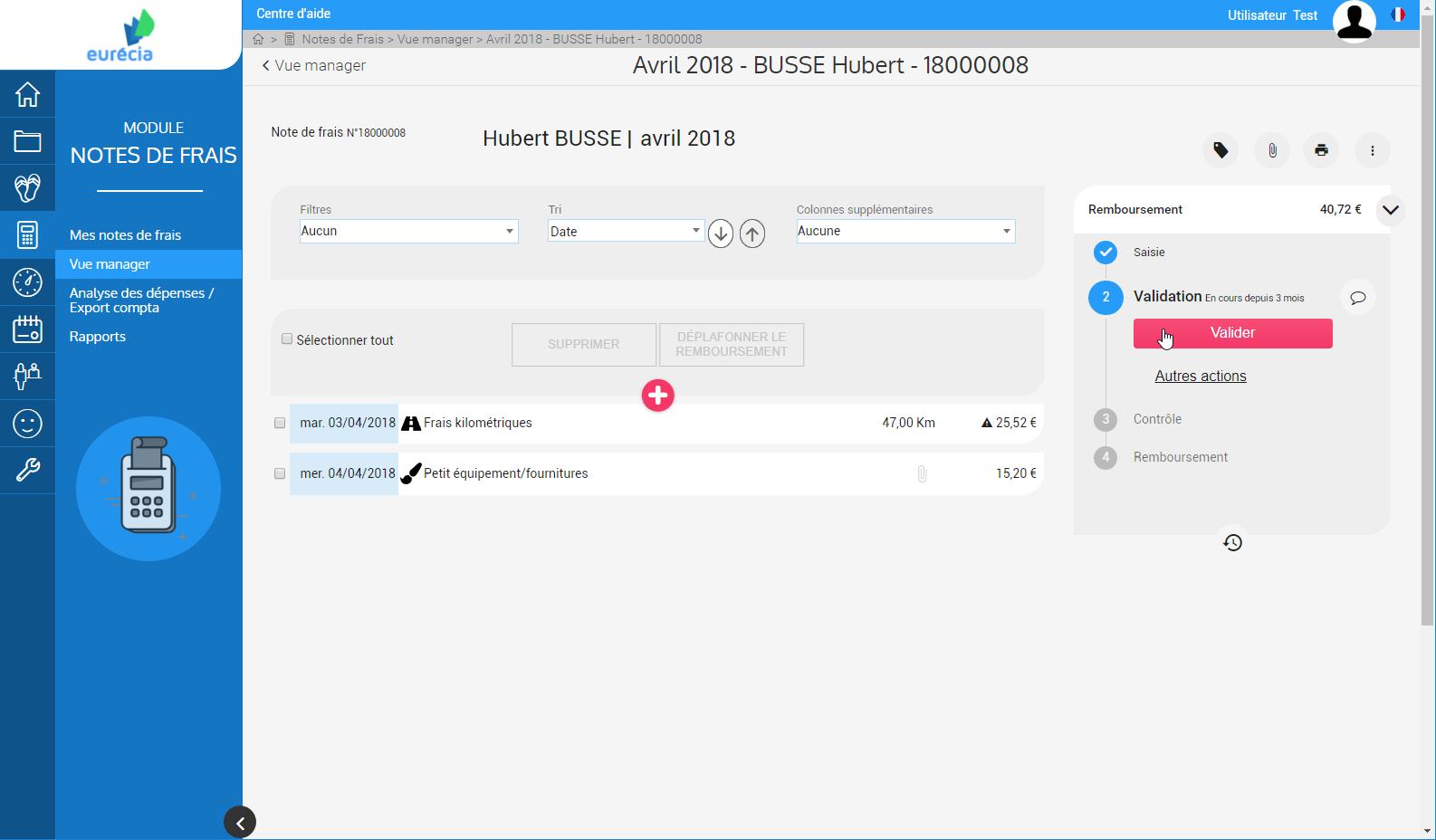 Module Notes de frais : validation des remboursements en un clic