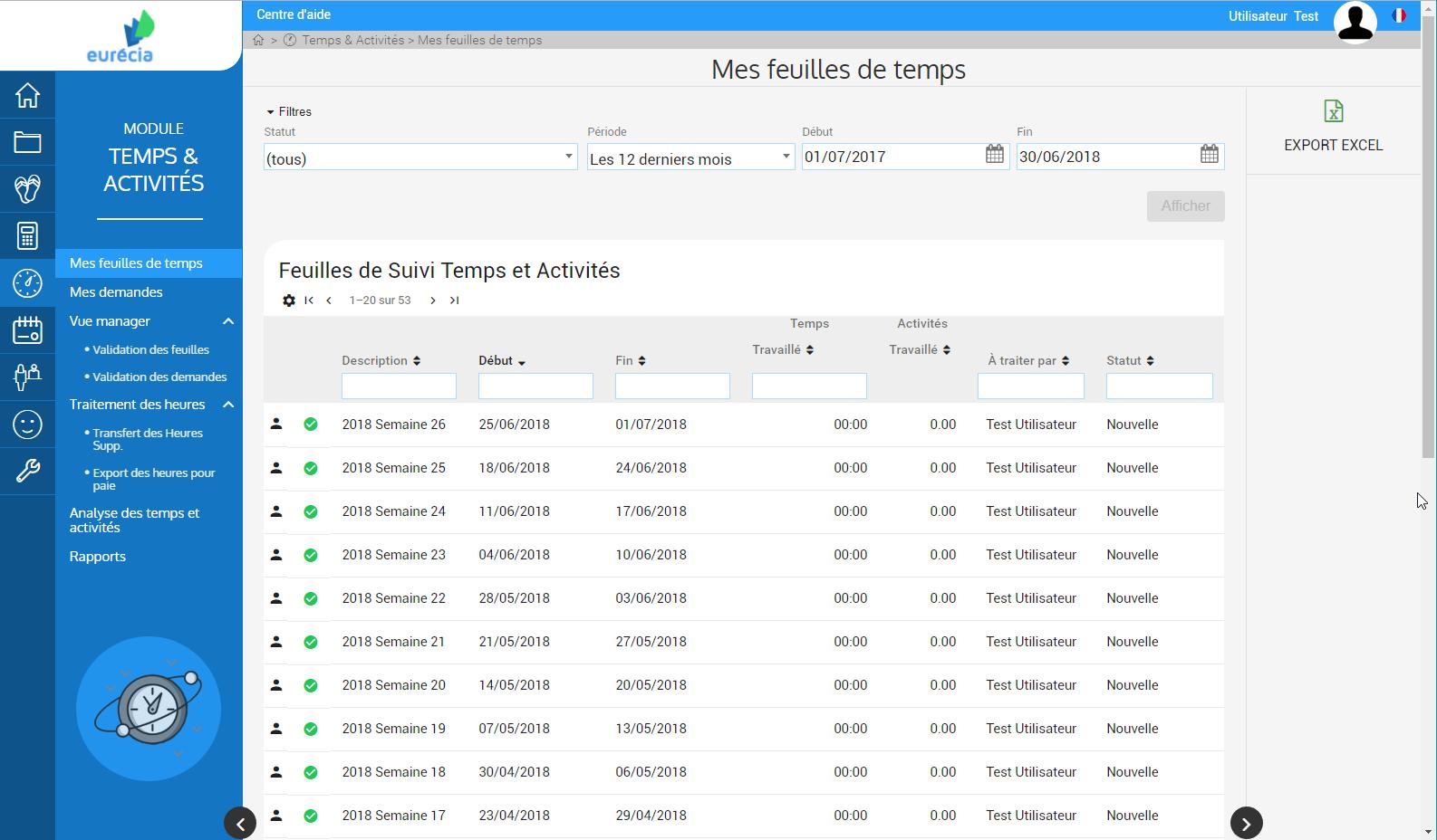 Module de gestion Temps & Activités : visualisation des temps de travail