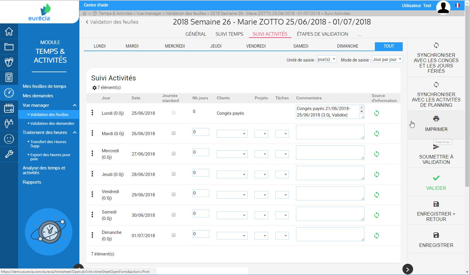 Module de gestion Temps & Activités : Validation des feuilles de temps