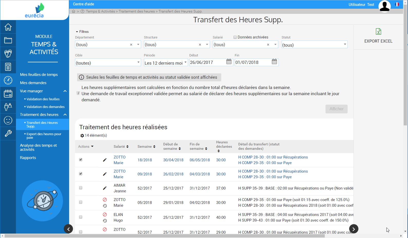 Module de gestion Temps & Activités : Transfert des heures supp