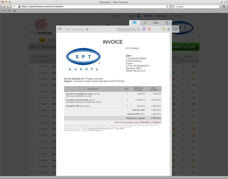 Factomos: Secure Sockets Layer (SSL), Gestion automatique de la TVA, Gestion des entrées / sorties