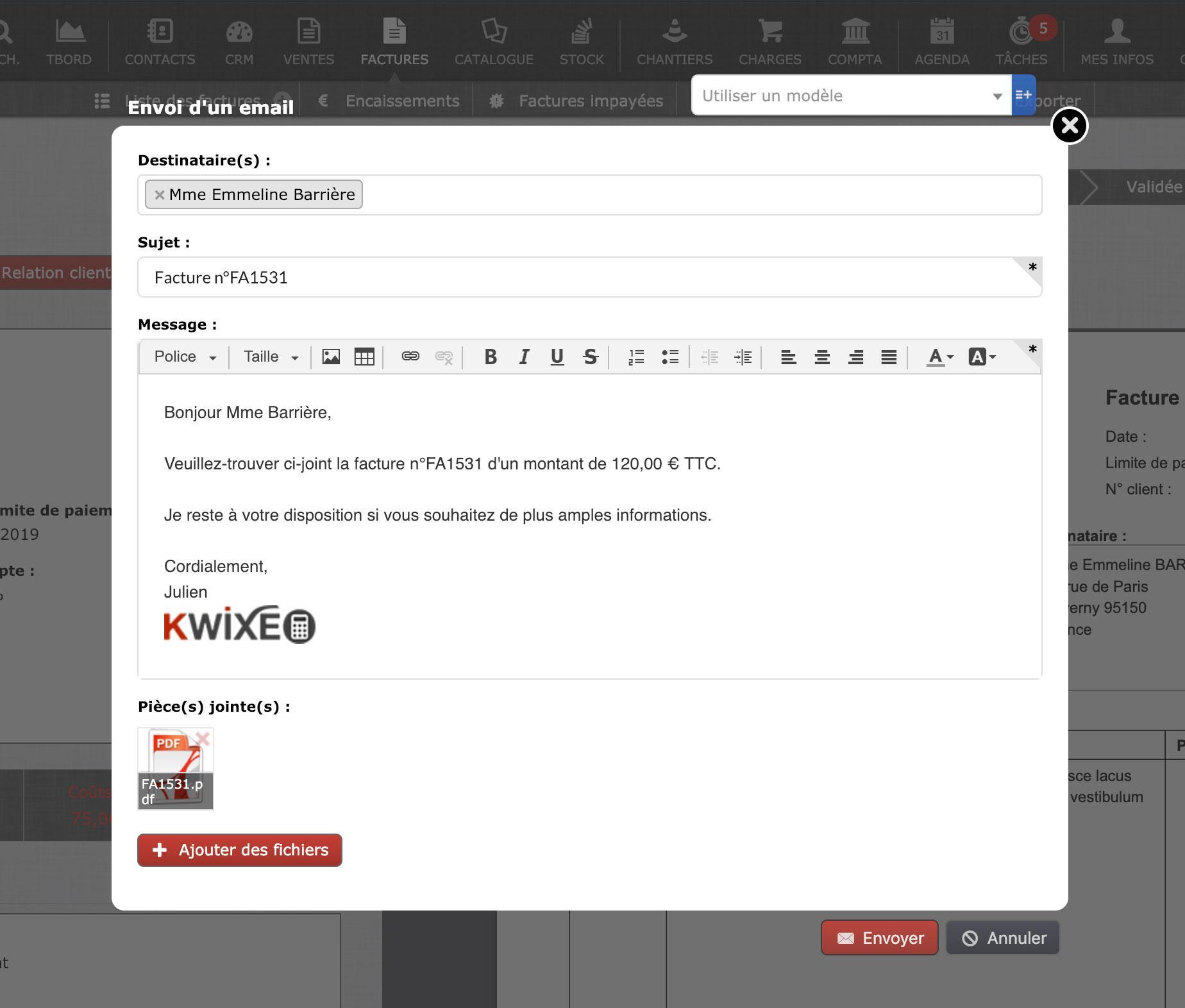 Envoi email à partir du logiciel