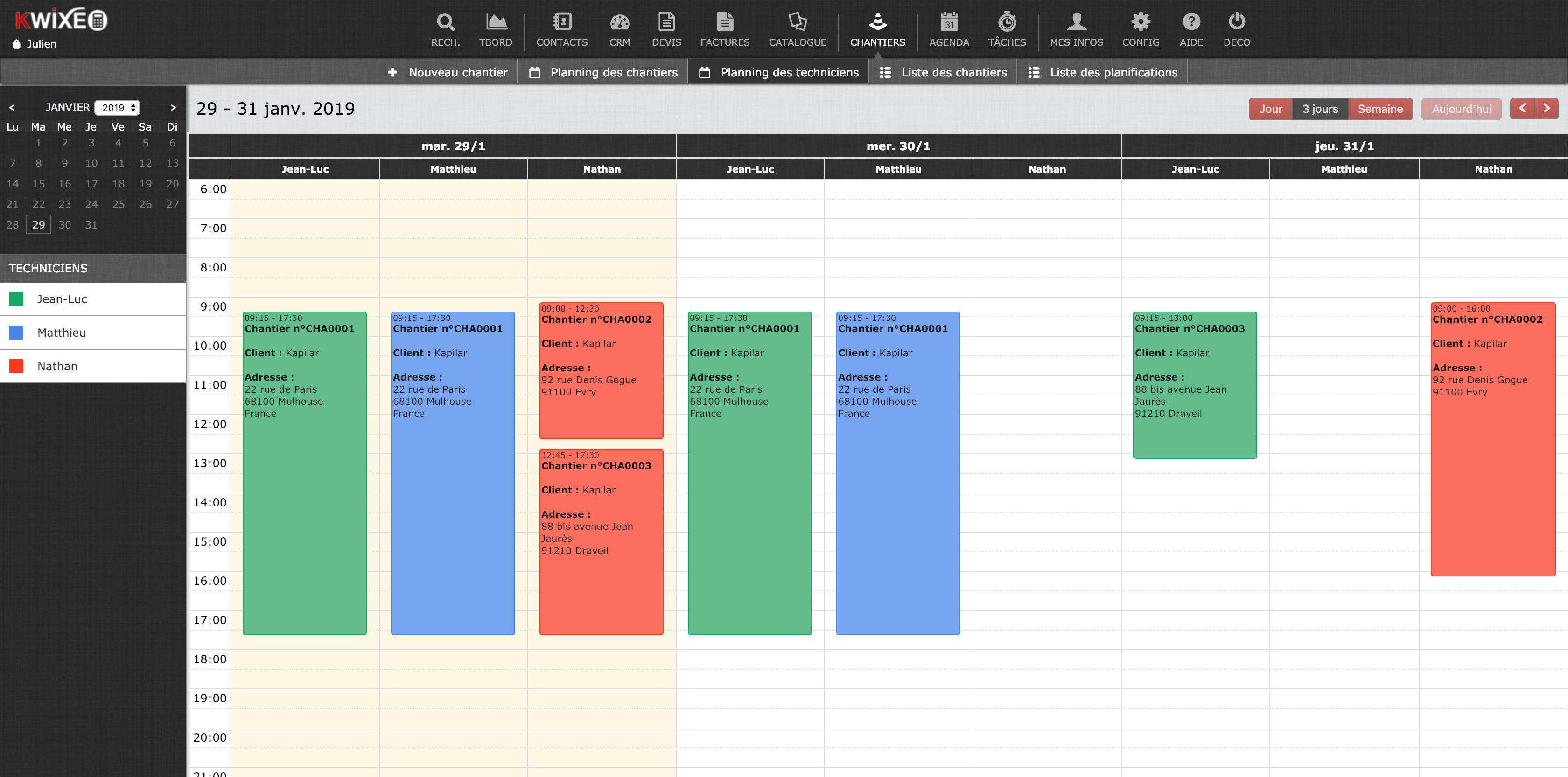 Planning technique - Module gestion de chantier