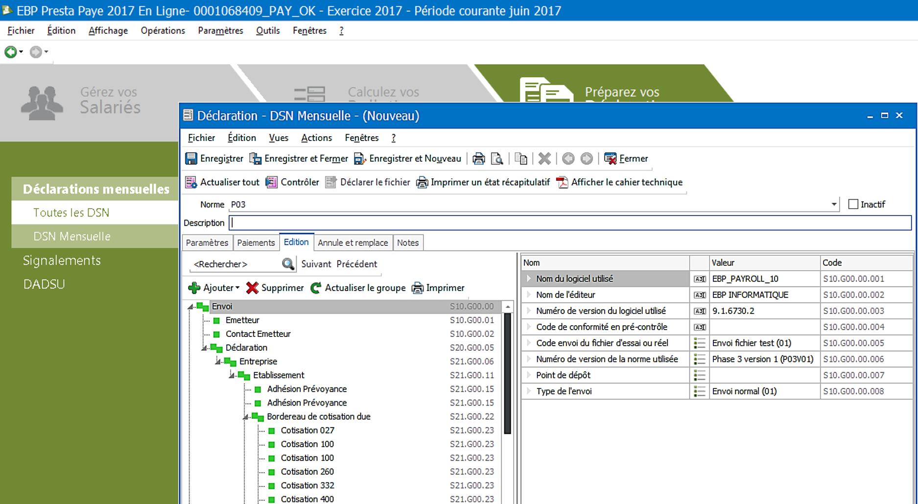 Outil intégré au logiciel permet de réaliser un contrôle de votre DSN en automatique