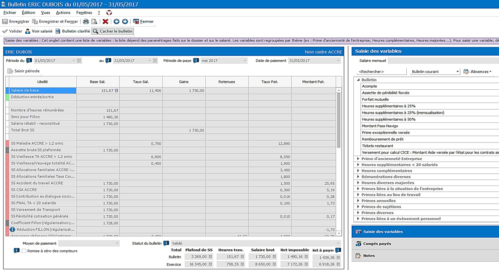Saisissiez vos variables de paie mensuelles et visualisez en simultané les modifications sur le bulletin de paie